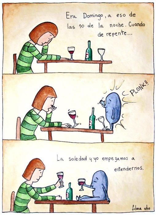 mujer tomando vino con soledad