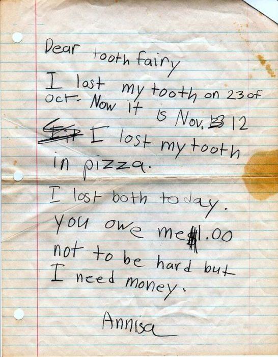 Carta para hada de los dientes