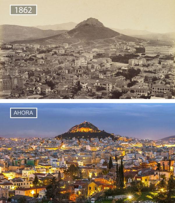 Foto de Atenas en 1862 y ahora