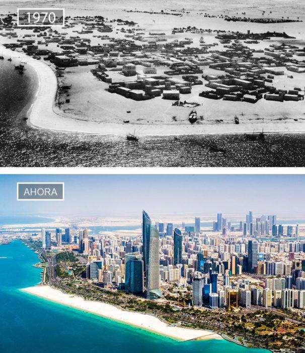 Foto de Abu Dhabi en 1970 y ahora