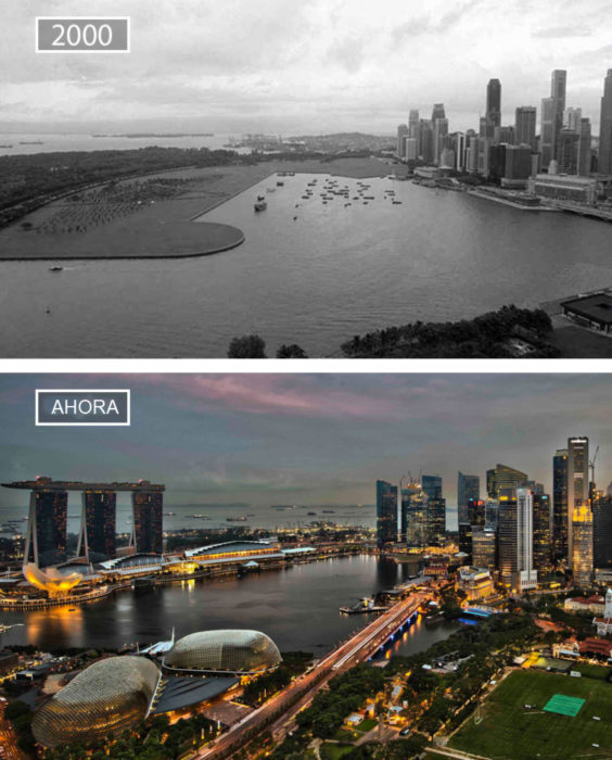 Foto de Singapur en 2000 y ahora