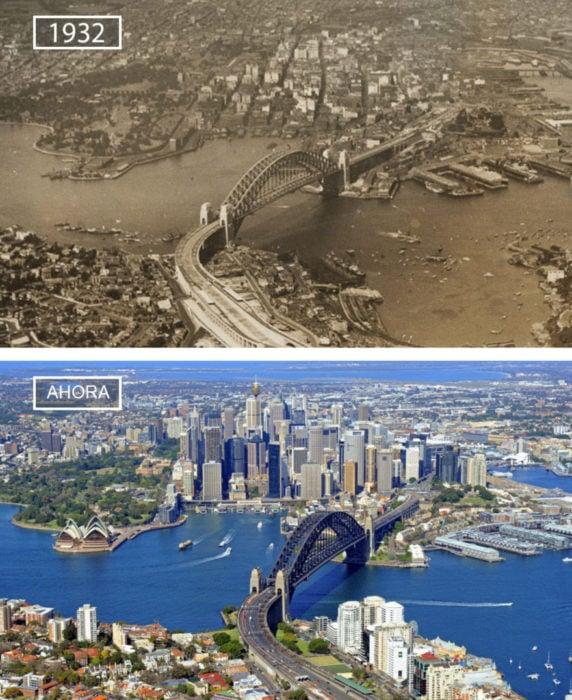 Foto de Sydney en 1932 y ahora