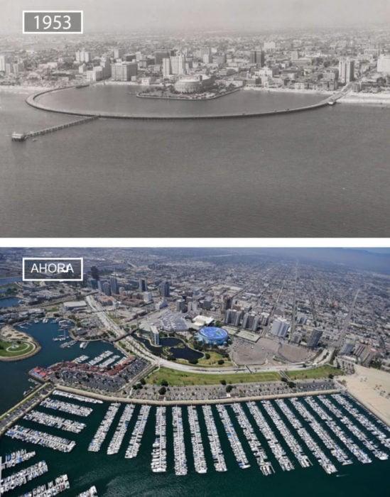 Foto de Long Beach en 1953 y ahora