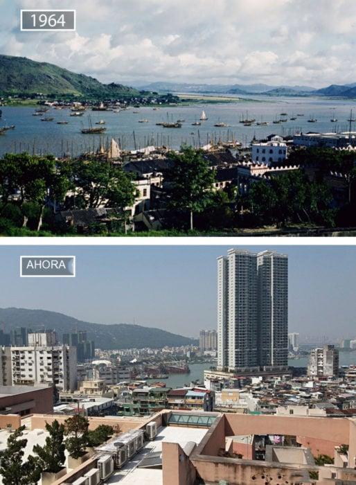 Foto de Macau en 1964 y ahora