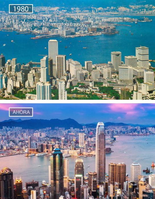Foto de Hong Kong en 1980 y ahora