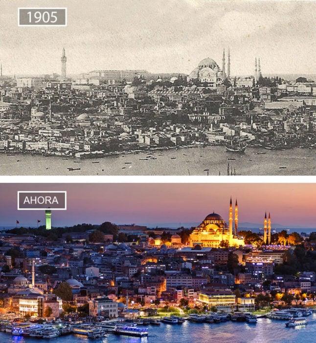 Foto de Estambúl en 1905 y ahora