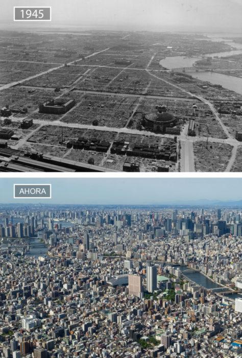 Foto de Tokio en 1945 y ahora