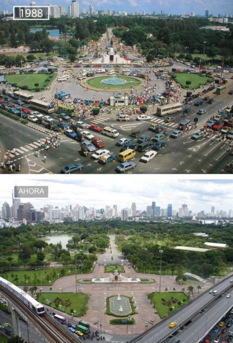 Foto de Bangkok en 1988 y ahora