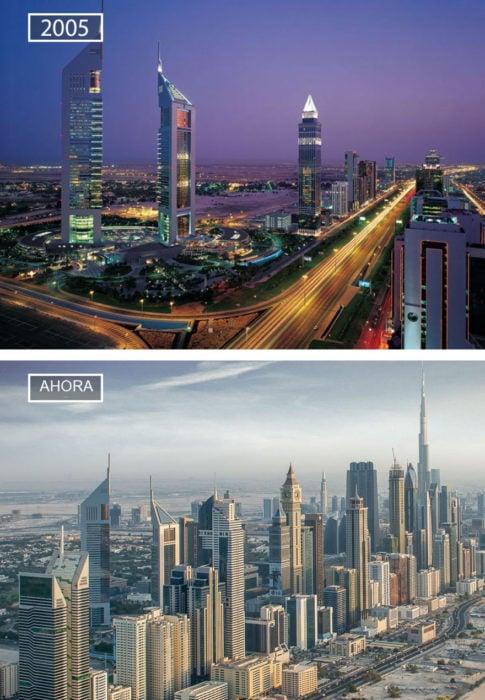 Foto de Dubai en 2005 y ahora