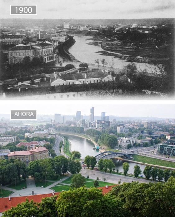 Foto de Vilnius en 1900 y ahora