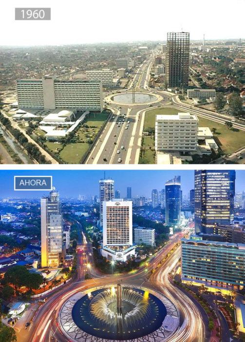 Foto de Yakarta en 1960 y ahora