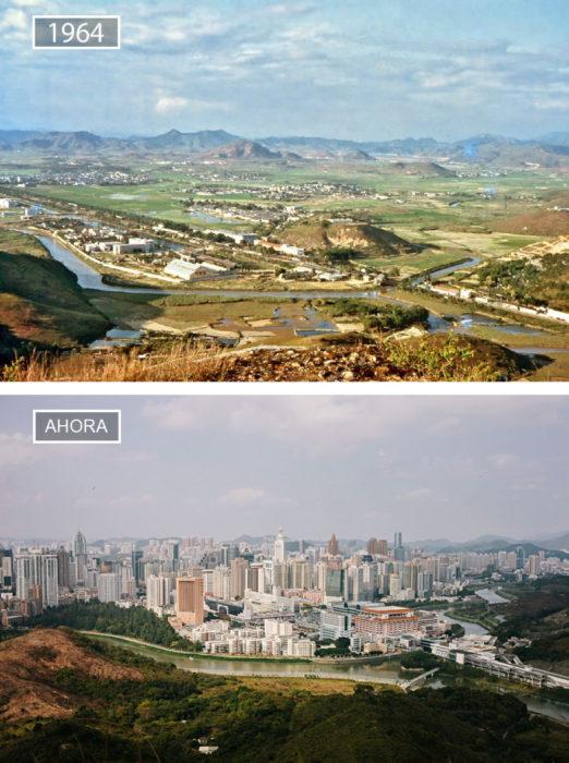 Foto de Shenzen en 1964 y ahora