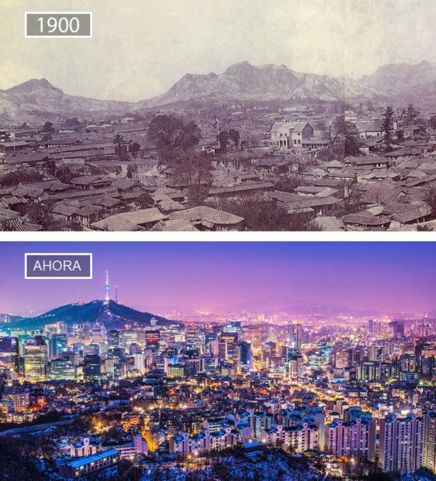 Foto de Seúl en 1900 y ahora