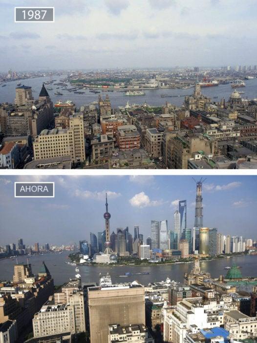 Foto de Shangai en 1987 y ahora