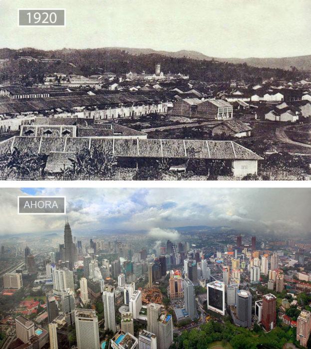 Foto de Kuala Lumpur en 1920 y ahora