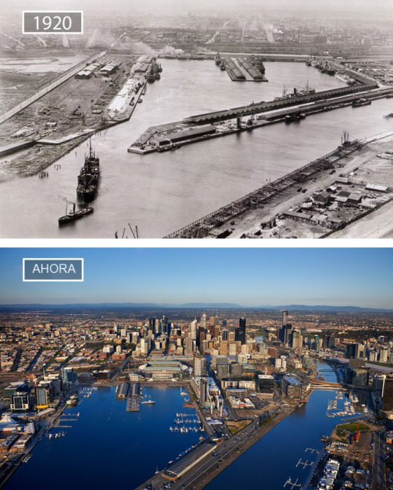 Foto de Melbourne en 1920 y ahora