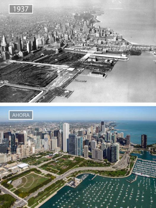 Foto de Chicago en 1937 y ahora