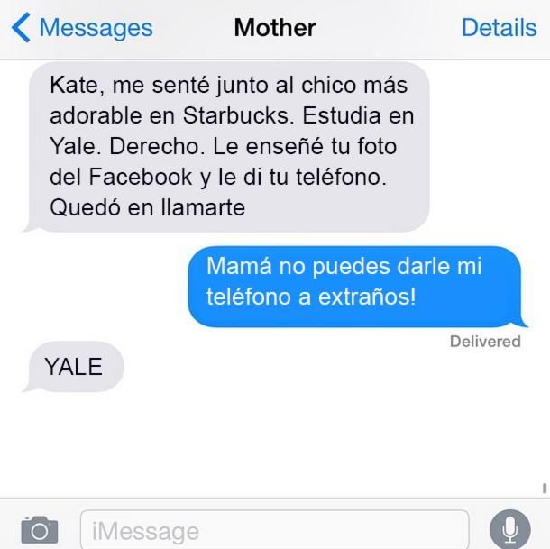 Mensaje mamá le da el teléfon de su hija a un desconocido