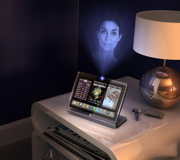 Tablet que muestra una llamada con holograma