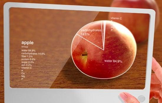 pantalla transparente que detecta la comida y te da la información nutricional