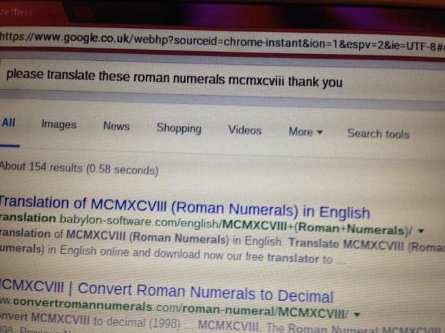 Por favor puede traducir estos numeros romanos Google abuela