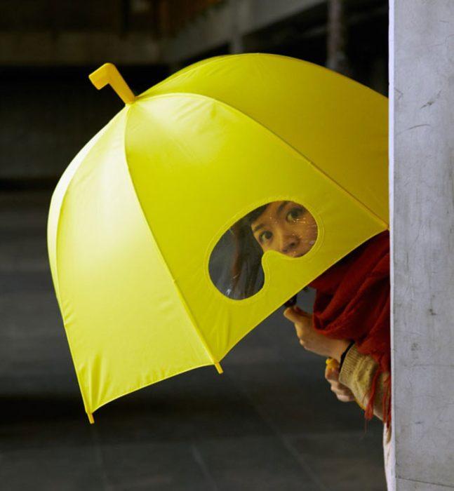 Paraguas con visor trasparente
