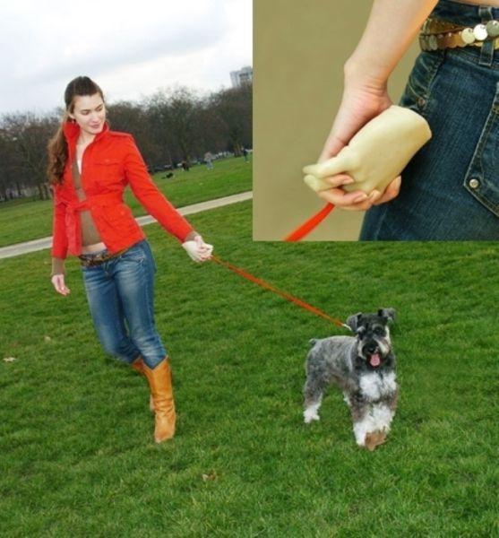 Correa para pasear al perro con la forma de una mano en la orilla
