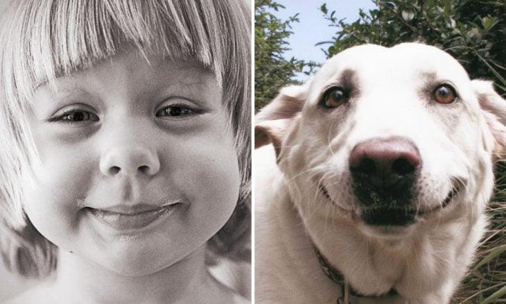 Niña con cara de perro