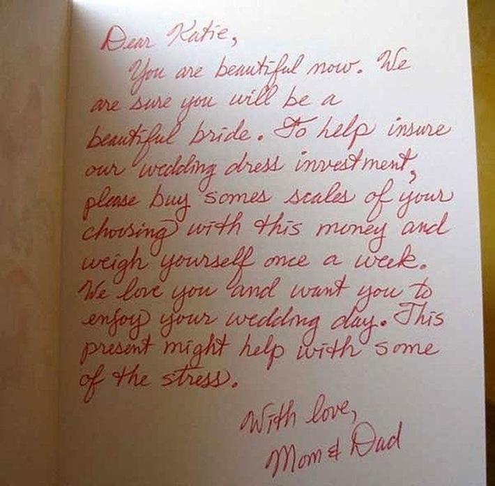 Una carta escrita para una novia por sus papás