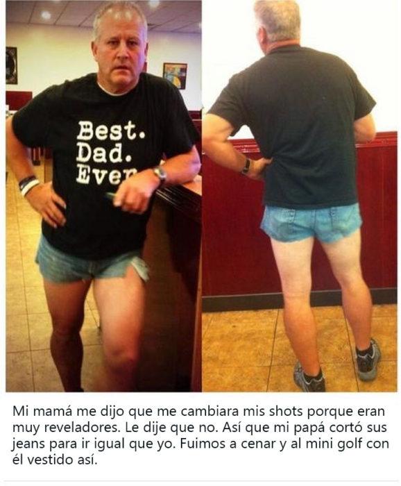 papa con shorts usando una playera que dice best dad ever