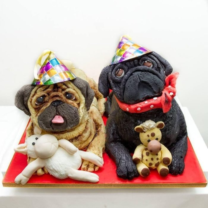 Pastel de dos pugs
