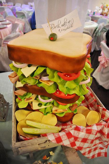 pastel de un sandwich