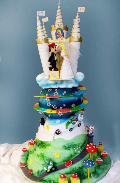 pastel de la boda de mario bros.