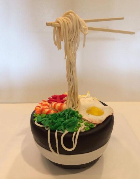 pastel de una sopa de fideos