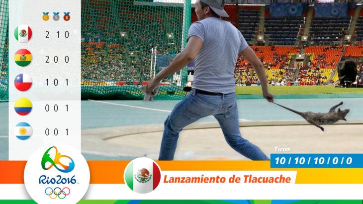 Medalla olímpica por lanzamiento de tlacuache