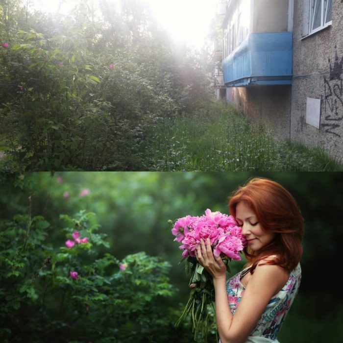 imágen mujer con flores