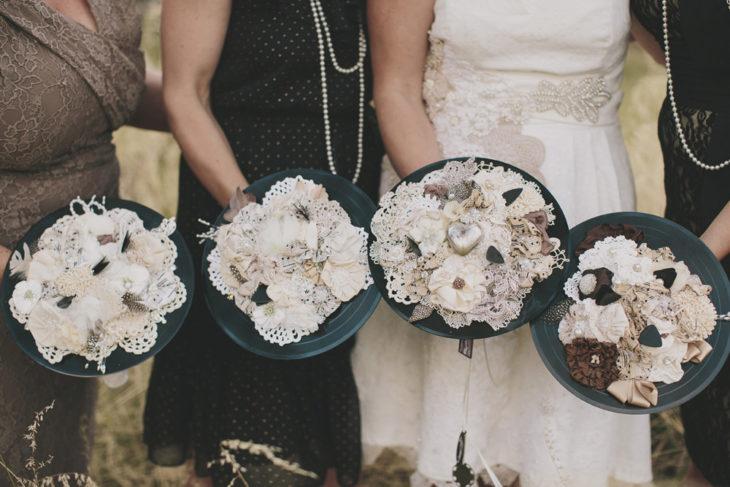 ramos de novia con discos de vinilo