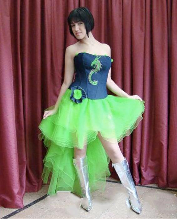 vestido verde feo