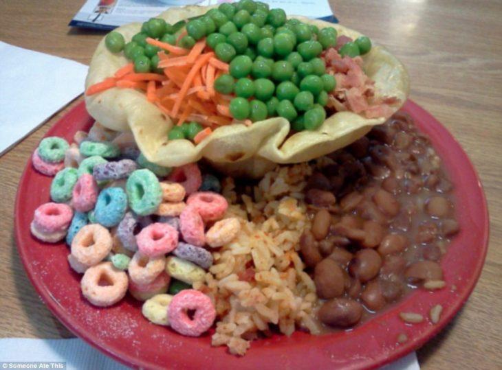 cereal con chícharos y frijoles