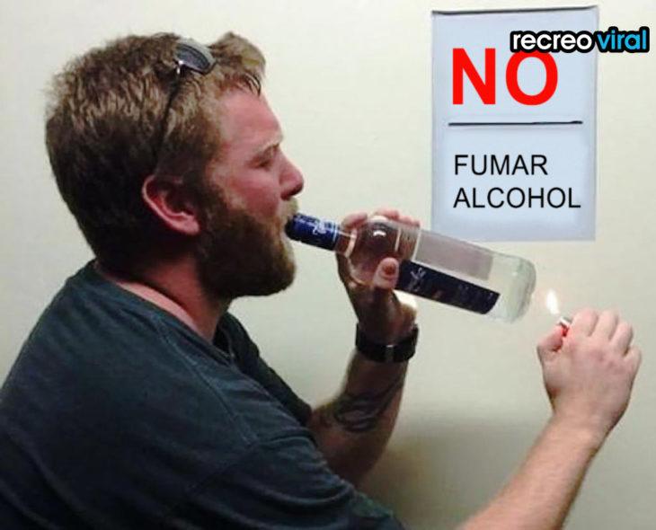 hombre fumando alcohol