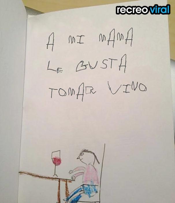 dibujo de un niño que a su mamá le gusta tomar vino