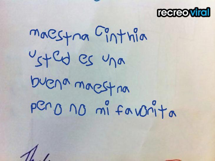 nota de un niño a su maestra