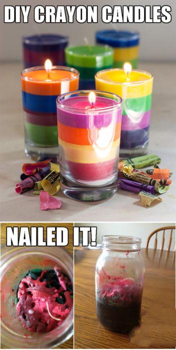 velas hechas de crayones