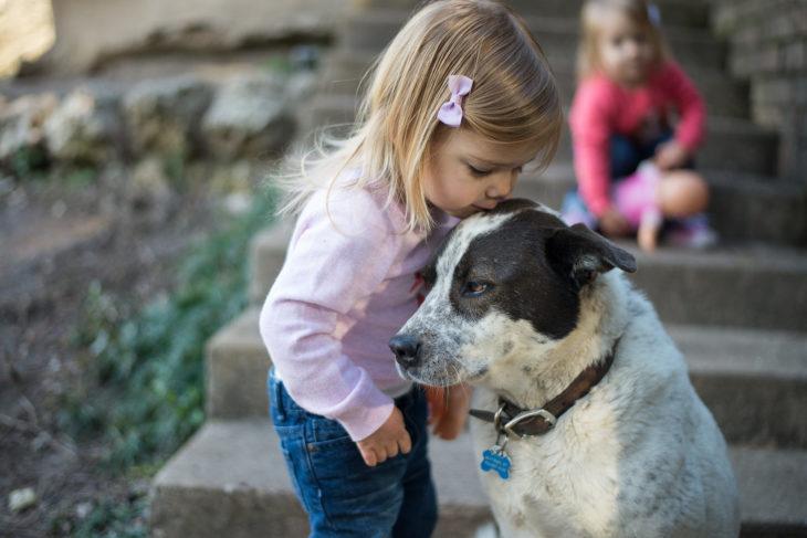 niña besando a un perro