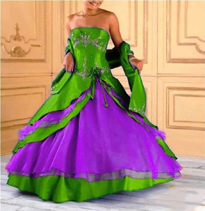 vestido de 15 verde y morado