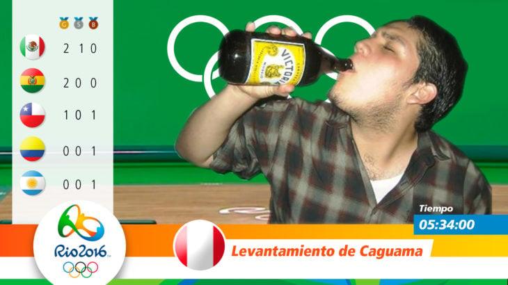 Medalla olímpica por levantamiento de caguama