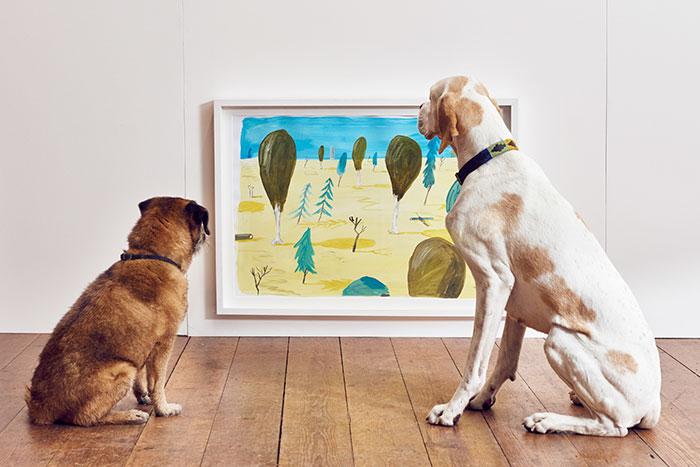 perros contemplando un cuadro