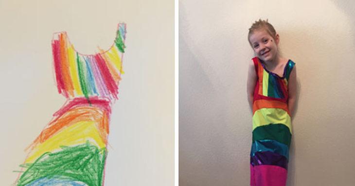 niña con un vestido puesto igual al que dibujó