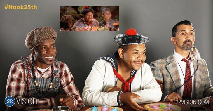 25 Aniversario Hook. 3 actores de los niños perdidos recrean escena en donde están cenando