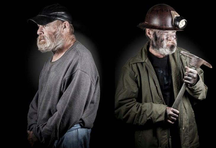 señor de la calle, de lado mismo señor vestido de minero